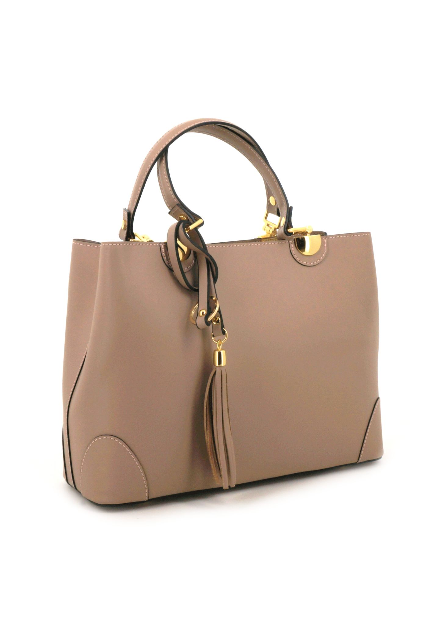 Beige Ruga Leather Double Handle Handbag With Strap 019 detail 1