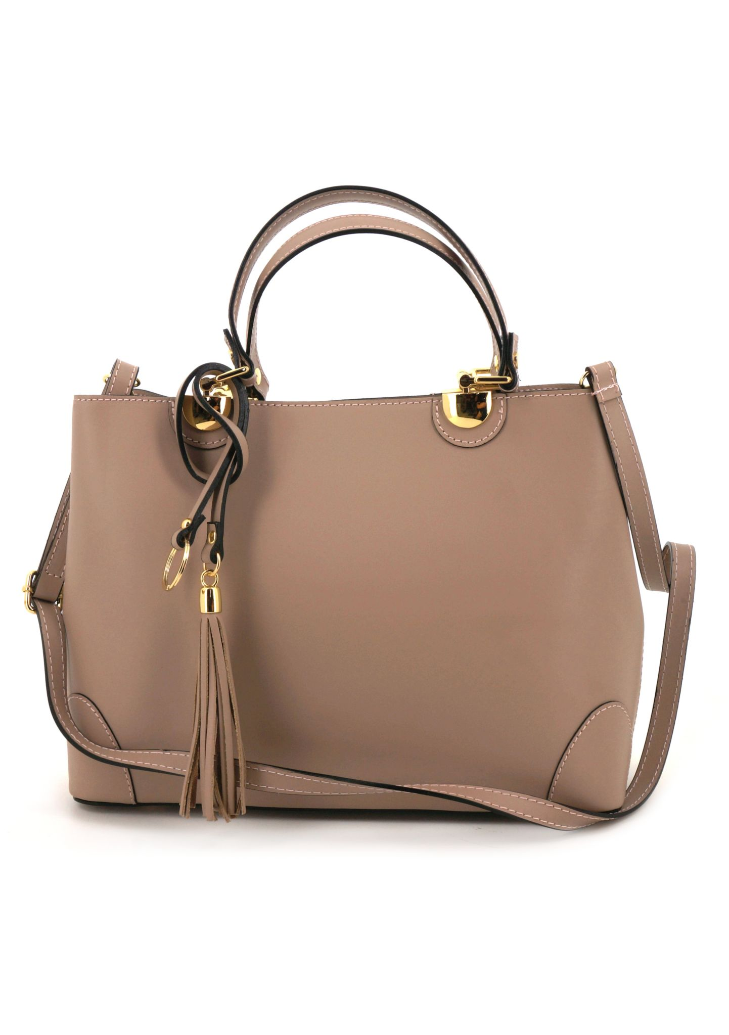 Beige Ruga Leather Double Handle Handbag With Strap 019 detail 3