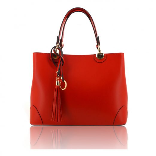 Red Ruga Leather Double Handle Handbag With Strap