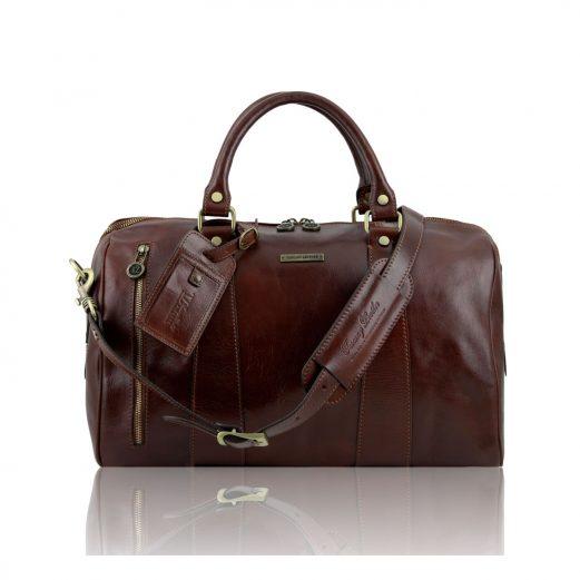 イタリア製本牛革ベジタブルタンニンレザーの旅行ボストンバッグ・表ポケットあり - Sサイズ TL VOYAGER・ブラウン・茶色