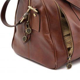 イタリア製本牛革ベジタブルタンニンレザーの旅行ボストンバッグ・表ポケットあり - Sサイズ TL VOYAGER・詳細6