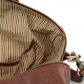 イタリア製本牛革ベジタブルタンニンレザーの旅行ボストンバッグ・表ポケットあり - Sサイズ TL VOYAGER・詳細5