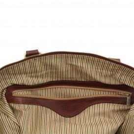 イタリア製本牛革ベジタブルタンニンレザーの旅行ボストンバッグ・表ポケットあり - Sサイズ TL VOYAGER・詳細4