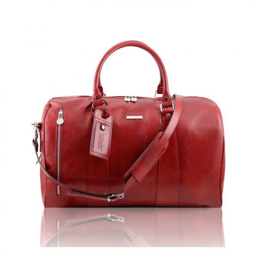 イタリア製本牛革ベジタブルタンニンレザーの旅行ボストンバッグ・表ポケットあり - Sサイズ TL VOYAGER・赤レッド