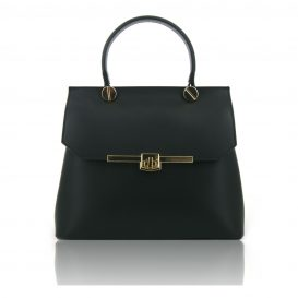 Black Ruga Leather Handbag With Detachable Shoulder Strap