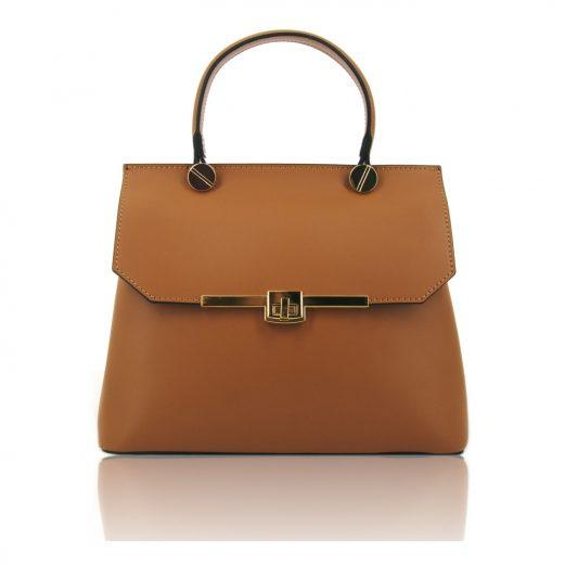 Gisella ルーガ・カーフレザーの2WAYハンドバッグ、コニャック、キャメル、ブラウン