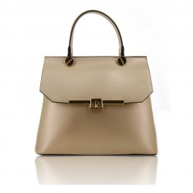 Gold Ruga Leather Handbag With Detachable Shoulder Strap