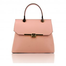 Pink Ruga Leather Handbag With Detachable Shoulder Strap