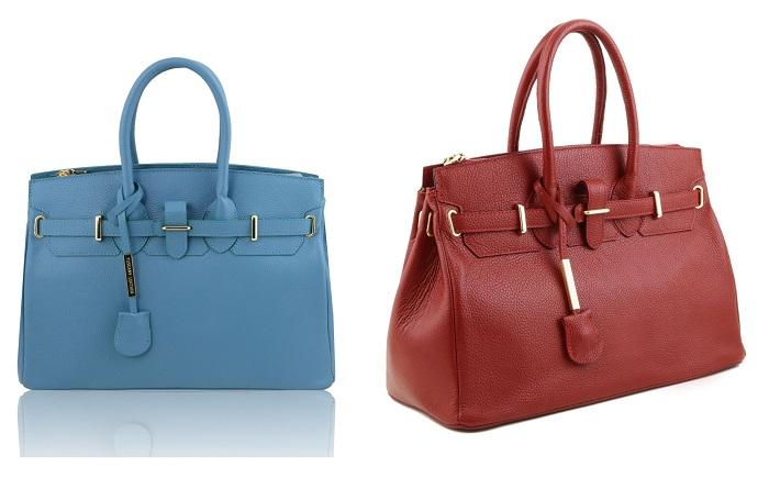イタリア製ハンドバッグ、シボ加工本革
