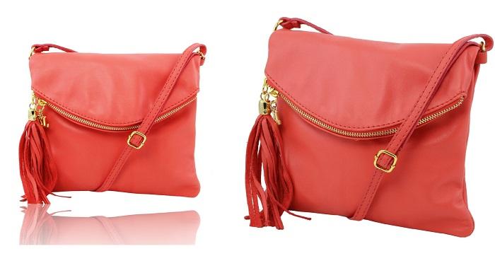 イタリア製本革バッグ、ピンク、ショルダーバッグ、コーラルピンク