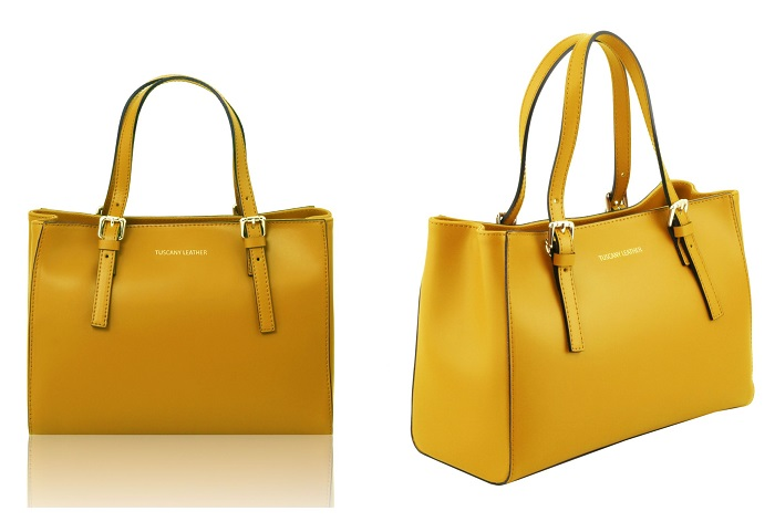イタリア製本革バッグ、イエロー、黄色、ツーウェイバッグ