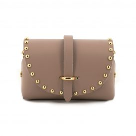 BeigeStudded Mini Clutch Bag With Strap