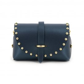 Pearly Dark Blue Studded Mini Clutch Bag With Strap