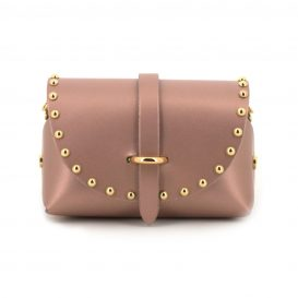 Pearly Dusty Pink Studded Mini Clutch Bag With Strap