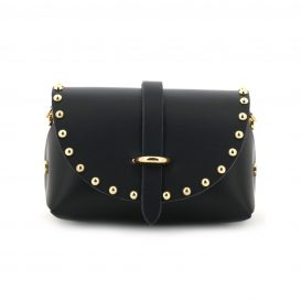 Black Studded Mini Clutch Bag With Strap