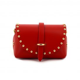 Red Studded Mini Clutch Bag With Strap