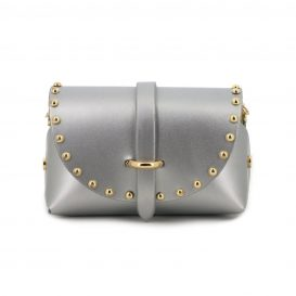 Silver Studded Mini Clutch Bag With Strap