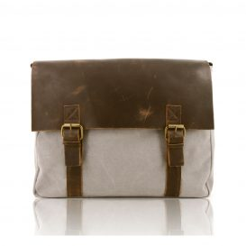 Beige Aged Leather And Canvas Briefcase