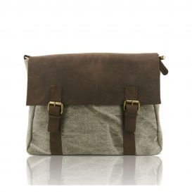 Green Aged Leather And Canvas Briefcase