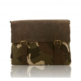Army Green Aged Leather And Canvas Briefcase
