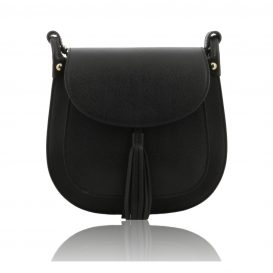Black Saffiano Leather Crossbody Bag