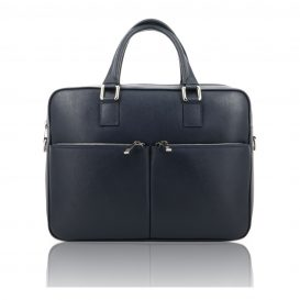 Blue Saffiano Leather Briefcase