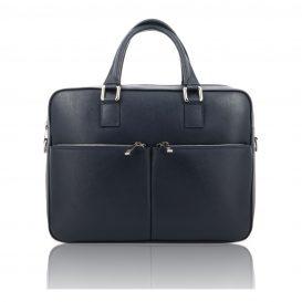 Blue Saffiano Leather Briefcase