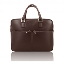 Brown Saffiano Leather Briefcase