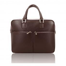Brown Saffiano Leather Briefcase