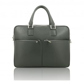 Grey Saffiano Leather Briefcase