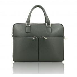 Grey Saffiano Leather Briefcase
