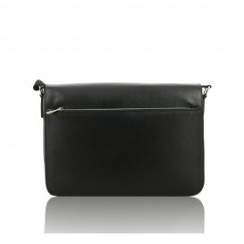 Black Saffiano Leather Briefcase With Flap