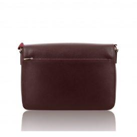Bordeaux Saffiano Leather Briefcase With Flap