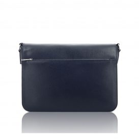 Dark Blue Saffiano Leather Briefcase With Flap
