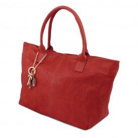 イタリア製柔らかいカーフ・ソヴァージュレザーのトートバッグ、レッド、赤、詳細1