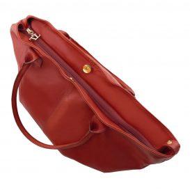 イタリア製柔らかいカーフ・ソヴァージュレザーのトートバッグ、レッド、赤、詳細2