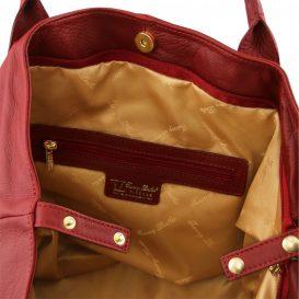 イタリア製柔らかいカーフ・ソヴァージュレザーのトートバッグ、レッド、赤、詳細3