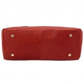イタリア製柔らかいカーフ・ソヴァージュレザーのトートバッグ、レッド、赤、詳細4