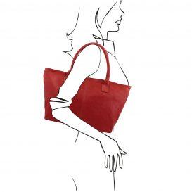 イタリア製柔らかいカーフ・ソヴァージュレザーのトートバッグ、レッド、赤、詳細5
