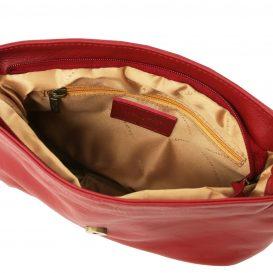 イタリア製タッセルつきソフトレザーのショルダーバッグ(小)TL Bag、レッド、赤、詳細2