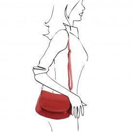 イタリア製タッセルつきソフトレザーのショルダーバッグ(小)TL Bag、レッド、赤、詳細3
