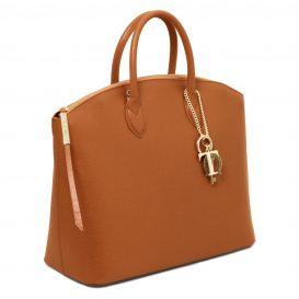 イタリア製本革バッグ、イタリア製サフィアーノレザーバッグ、Mサイズ、コニャック、キャメル、詳細1