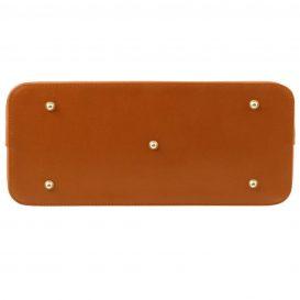 イタリア製本革バッグ、イタリア製サフィアーノレザーバッグ、Mサイズ、コニャック、キャメル、詳細2