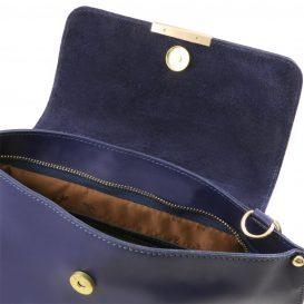 イタリア製スムースレザー、カーフレザーの2WAYバッグ、ショルダーバッグ、ダークブルー、ネイビー、青、詳細2