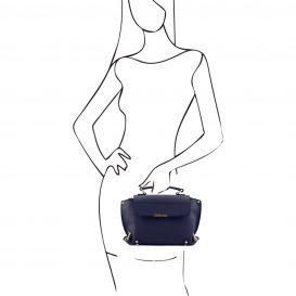 イタリア製スムースレザー、カーフレザーの2WAYバッグ、ショルダーバッグ、ダークブルー、ネイビー、青、詳細3