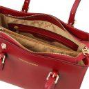 イタリア製本革バッグ、2WAYハンドバッグ、ショルダーバッグ、AURA、レッド、赤、ダークレッド、詳細3
