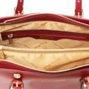 イタリア製本革バッグ、2WAYハンドバッグ、ショルダーバッグ、AURA、レッド、赤、ダークレッド、詳細4