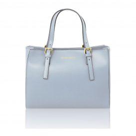 イタリア製AURA ルーガ・カーフレザーの2WAYハンドバッグ、ライトブルー、水色、スカイブルー、パウダーブルー、ベビーブルー