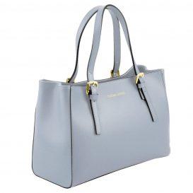 イタリア製AURA ルーガ・カーフレザーの2WAYハンドバッグ、ライトブルー、水色、スカイブルー、パウダーブルー、ベビーブルー、詳細1