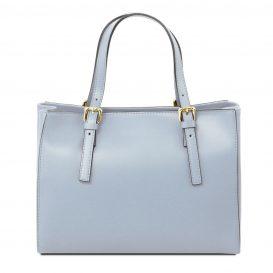 イタリア製AURA ルーガ・カーフレザーの2WAYハンドバッグ、ライトブルー、水色、スカイブルー、パウダーブルー、ベビーブルー、詳細2